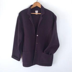 Eileen Fisher Deep Purple Boiled Wool Over Coat